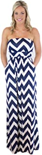 Charm Your Prince Women's Sleeveless Summer Chevron Empire Maxi Dress Royal Blue Medium