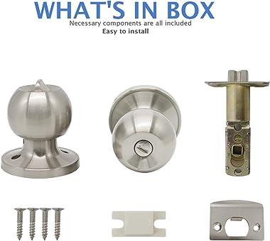 Bedroom/Bathroom Satin Nickel Door Knobs Privacy Door Sets Hardware Interior Ball Shap Door Handles 10 Pack