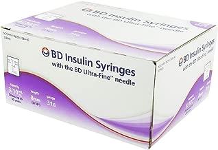 BD Ultra-Fine BD Ultrafine U-100 Insulin Syringe 31 Gauge 3/10cc 5/16 inch Short Needle-1/2 Unit Markings 100/box (328440)