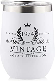 1974 45th Birthday Gifts for Women Men - Splash Proof 12 oz Stainless Steel Wine Tumbler | Funny Gift Ideas for Her Wife Mom Grandma Him Dad | Insulated Wine Glass for Party Decorations (White, 1974)