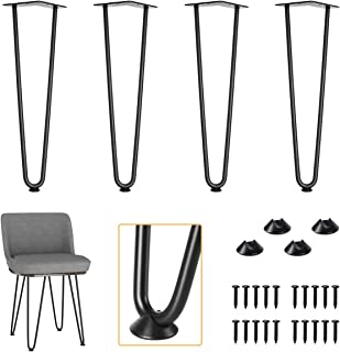 """Genius Iron 18"""" Black Metal Industrial Hairpin Legs, Set of 4 with 1/2"""" Heavy Duty Steel Rod, Fit DIY Furniture, Coffee Table, Night Stand and Bench"""