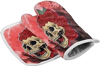 Hgfyef - Juego de guantes para horno y ollas, color rojo