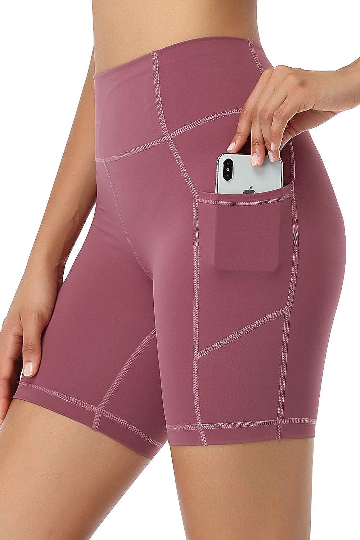 AXESEA High Waist Yoga Shorts with Rare Control Wo Tummy Side Pockets 4 years warranty