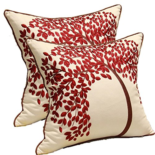 ZUODU Cushion Cover 2PCS 45cmx45cm Embroidered Cotton Linen Decorative Red Pillow Cover Cushion Case Pillow Case - The Tree of Life (Red with Frame) (RED-2PC)