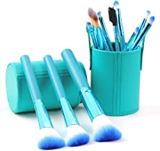 STELLAIRE CHERN Makeup Brush Set 12pcs Green Synthetic Makeup Brushes Travel Set With Leather bucket Foundation Powder Contour Blush Eye Cosmetic Brush