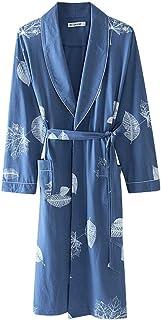 HONGNA Bathrobe Autumn Winter Cotton Adult Double Bathrobe Hotel Plaid Bathrobe Couple Stripe Bathrobe Color : Blue