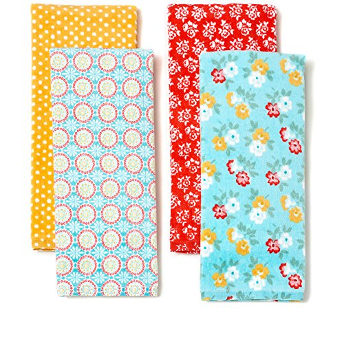 The Pioneer Woman Spring Floral Kitchen Towel Set, 4pk, Print,Red, Teal, Yellow, White, Blue, Green