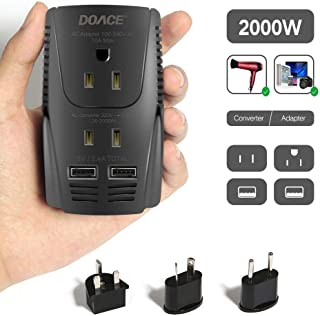 2019 Upgraded DOACE C11 2000W Travel Voltage Converter for Hair Dryer, Straightener, Flat Iron, Set Down 220V to 110V, Power Adapter with Dual USB and UK/AU/US/EU Plug for Cell Phone, Camera, Laptop