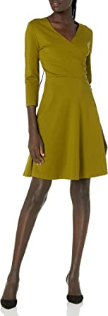 Lark & Ro Amazon Brand Women's Three Quarter Sleeve Faux Wrap Dress