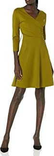 Marca Amazon - Lark & Ro Three Quarter Sleeve Faux Wrap Dress Mujer