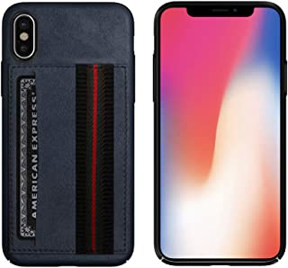 New Leather iPhone XR, XS and XS Max Wallet Case with Credit Card Slot and Hand Strap - Available for Apple iPhone XR, XS, and XS Max - Blue, Black and Brown (Navy Blue, XS MAX)