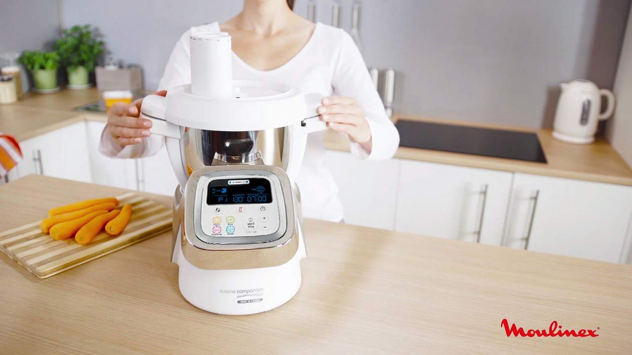 Moulinex i-Companion HF900110 - Robot de cocina Bluetooth 13 programas, hasta 6 personas, incluye cuchilla picadora, batidor, mezclador, amasador, triturador y cesta de vapor, Accesorio cortador: Amazon.es: Hogar