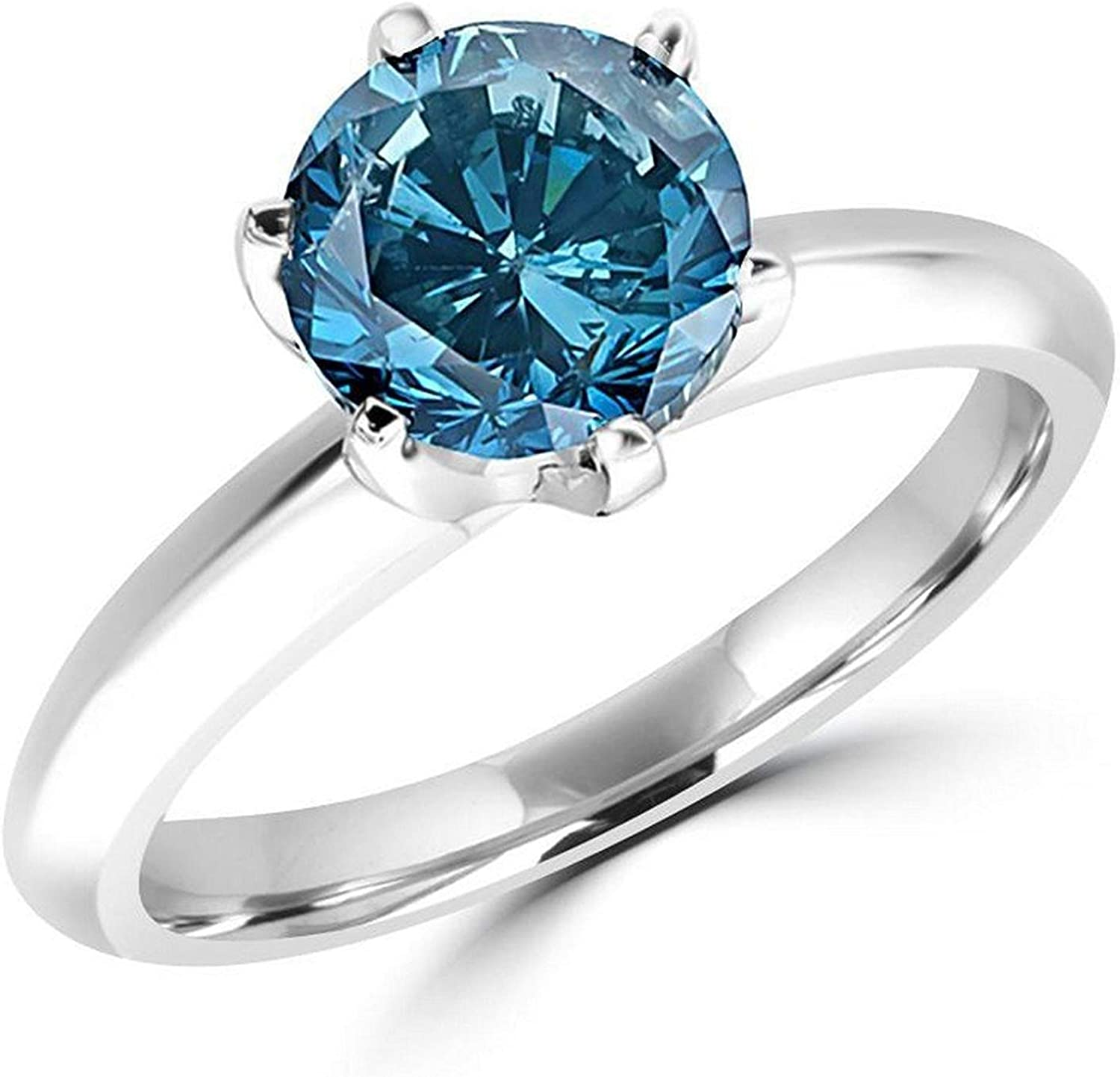 Amazon Com 1 2 5 Carat Total Weight Round 14k White Gold Blue Diamond Ring Aaa Quality Jewelry