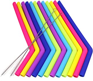 YuCool - Juego de 12 pajitas de silicona, reutilizables, extralargas con 2 cepillos para vaso Yeti Rtic, diámetro 0.45 pulgadas, longitud 9.6'' – 6 colores
