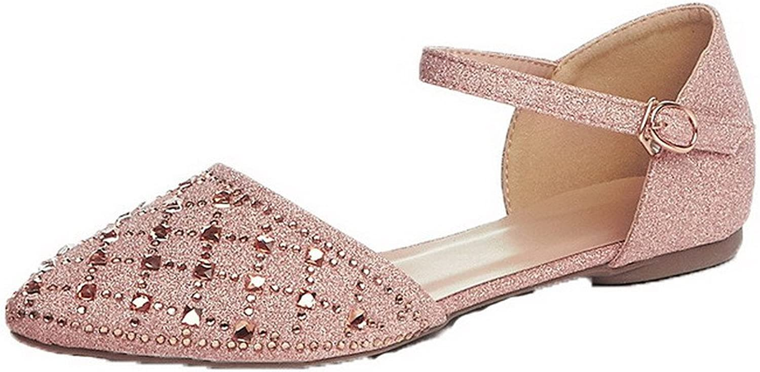 AllhqFashion Women's Studded Buckle Closed-Toe Sandals