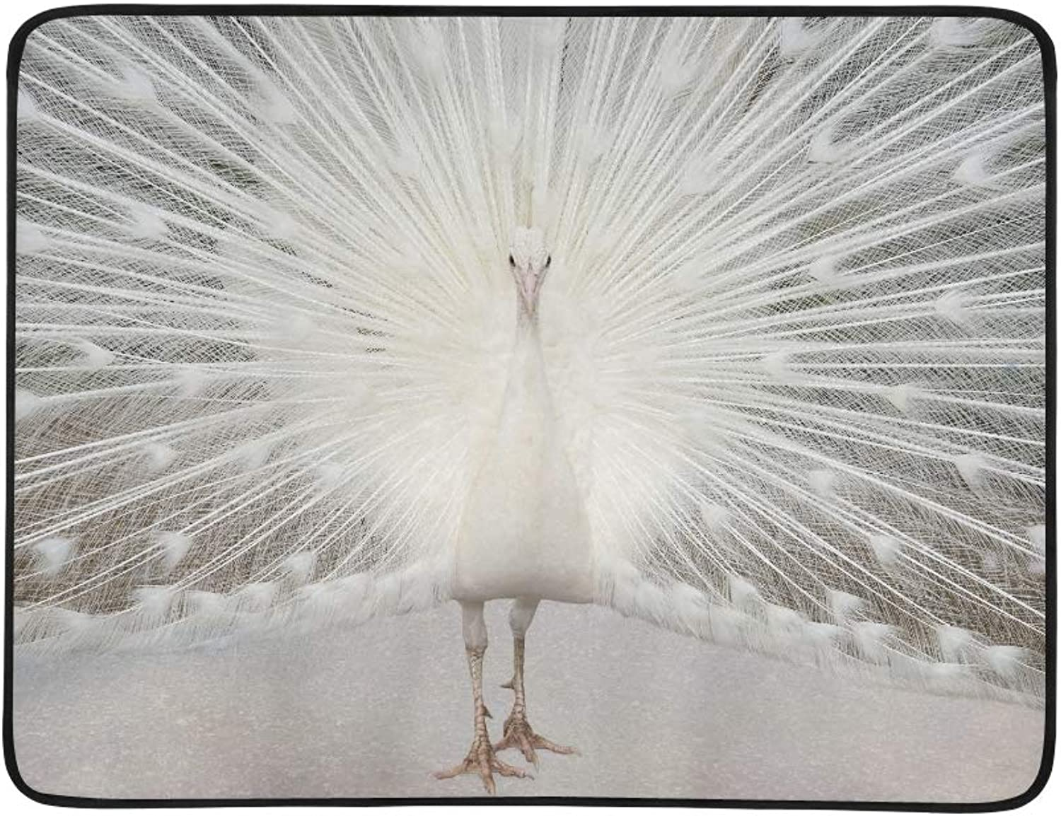 White Albino Peacock with Tail Feathers On Display Pattern Portable and Foldable Blanket Mat 60x78 Inch Handy Mat for Camping Picnic Beach Indoor Outdoor Travel