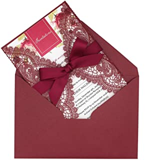 25-Pack Burgundy Laser Cut Lace Wedding Invitation with Burgundy Ribbon Bow and Envelopes, Elegant Invitation Cards for Wedding/Bridal Shower/Birthday Party, 125 x 185mm