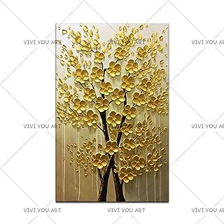 WSNDGWS Money Tree Handmade Art Modern Palette Knife on Canvas Tree 3D Flower Painting Home Living Room