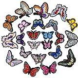Chstarina 23 Stück Patches zum Aufbügeln, Flicken Zum Aufbügeln, Schmetterling Aufbügelflicken Bügelflicken Stickerei Applikation Nähen Eisen Auf Patch Abzeichen für DIY Kleidung Jeans Hut
