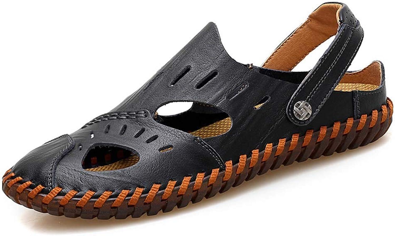 Mans Sandals läder Baotou Non Non Non -Slip Hollow Hole skor Handgjord av Leisure strand skor sommar  kolla in det billigaste