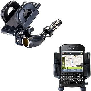 Cigarette Lighter Mount Holder Compatible with Blackberry Q10 12V Receptacle Mount Includes USB Port