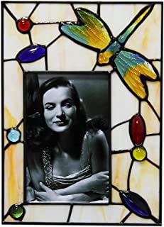 Makenier Vintage Tiffany Style Stained Glass Dragonfly & Bead 4x6 / 6x4 Picture Frame Photo Frame (Vertical Design: 6.7