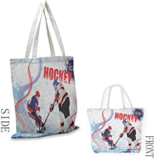 zojihouse Hockey Daily Wallet Handbag Two Ice Hockey Players in Cartoon Style on Grunge Abstract Skating Rink Backdrop W13.5xL16 Multicolor