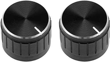 Drehknopf Schwarz Aluminiumlegierung Sourcing Map Potentiometer 21 x 17 mm 2 St/ück ger/ändeltes Schaftloch Lautst/ärkeregler