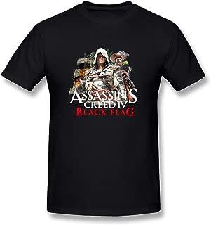 Fkyceun Men's Assassin's Creed 4 Logo Teeshirts Black