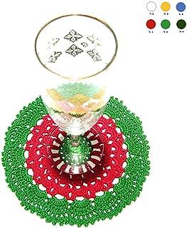 Posavaso rojo y verde de ganchillo para Navidad - Tamaño: ø 15 cm - Handmade - ITALY