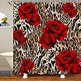Duschvorhang mit Leopardenmuster, rote Rose, brauner Geparden-Duschvorhang, Safari-Wildtier-Badewannen-Duschvorhang, Blumen-Design, Badezimmer-Zubehör, 182,9 cm B x 182,9 cm L