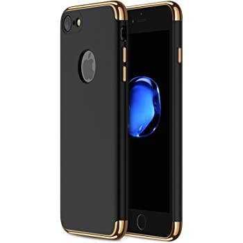 iPhone 7/8 Case, CROSYMX 3 in 1 Ultra Thin and Slim Hard Case Coated Non Slip Matte Surface with Electroplate Frame for Apple iPhone 7/8 (4.7'') - Black