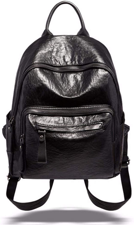 JQSM Soft Leather Women Backpack Preppy Style Shoulder Bag Pleated Waterproof Backpack School Bag Travel Bag Girl Ipadpocket