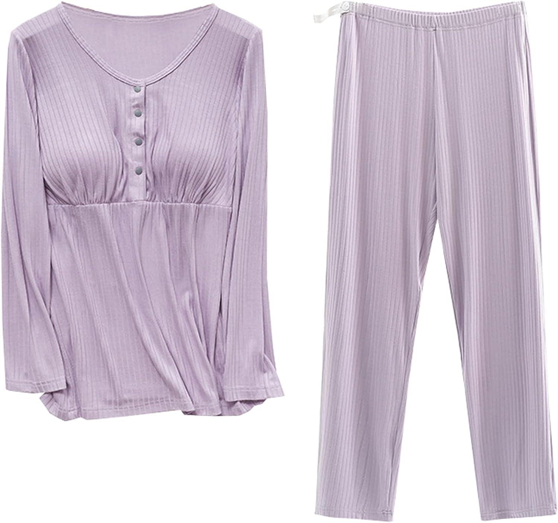 Umeyda Women's Maternity Ribbing Nursing Pajamas Outfits