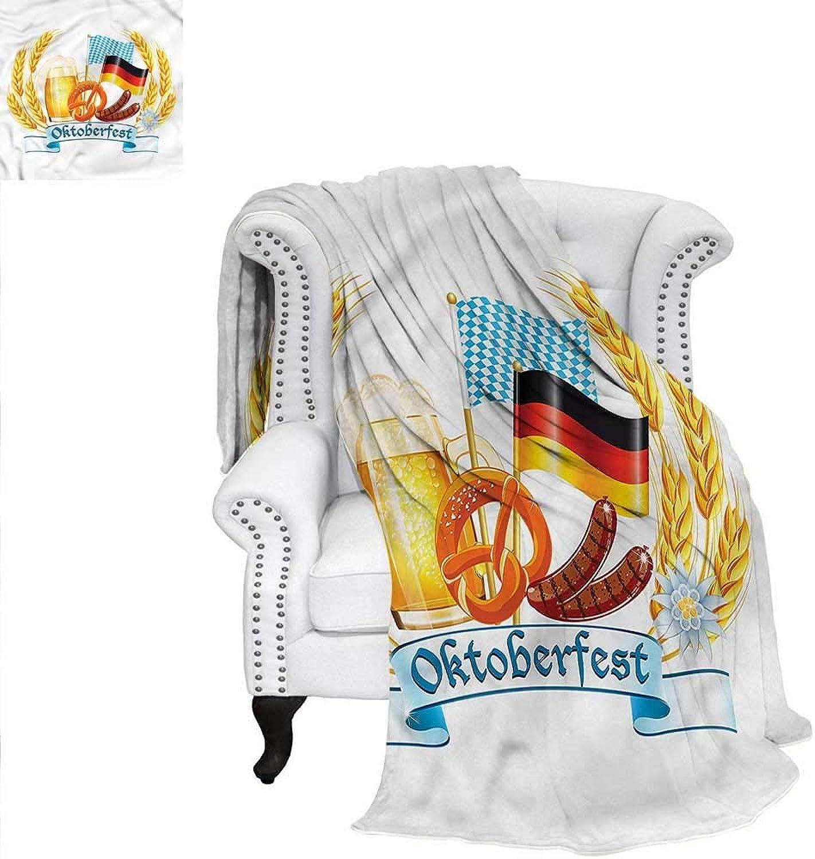 RenteriaDecor Oktoberfest Warm Microfiber All Season Blanket Delicious German Food Weave PatternBlanket 60 x50