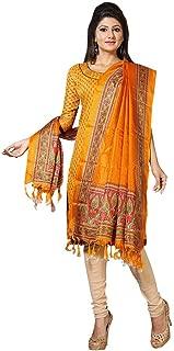 Indian Dresses Store Applecreation Women's Khadi Silk Dupatta (Yellow_Dup3009)