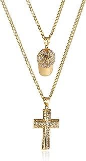 Mens Two Piece Gold Cross & Praying Hands Set Cz Inlay Pendant Necklace Hip Hop 22