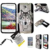 For Alcatel One Touch Pop Astro 5042T (TM) 3items Combo: LCD Screen Protector Film + Stylus Pen + Dual Layer Impact Resistance Hybrid Armor Case Built-In Kickstand (Gray Wolf)