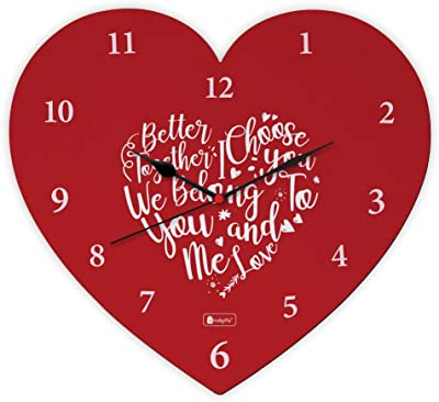 Indigifts for Couple Printed Red Designer Heart Shape Wall Clock - Love Gifts for Boyfriend, Him, Girlfriend Birthday Gift Special Love, Husband/Wife