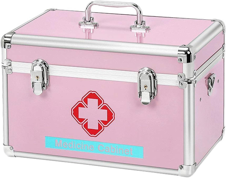 GLJJQMY Pill Box Medicine Outpatient Emergency Medical Box Storage Box Aluminum Household Medicine Box Medicine Storage Box (color   Pink, Size   L40.5CM)