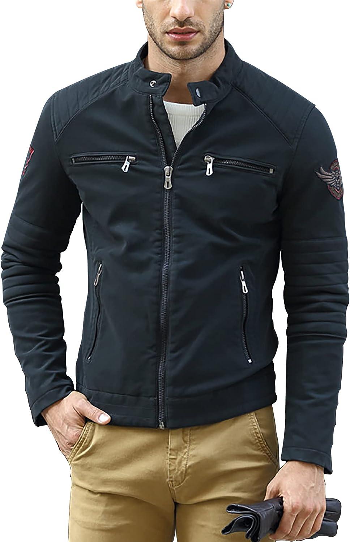 Men's Stand Collar Faux Leather Plus Size Punk Biker Bomber Jacket Fleece Lined Zip Jacket