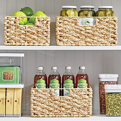 """mDesign Water Hyacinth Braided Weave Pantry Basket Storage Organizer Bin for Kitchen, Pantry, Cabinet - Narrow for Snacks, Produce, Vegetables, Pasta - Food Safe - 16"""" Long - 6 Pack - Natural"""