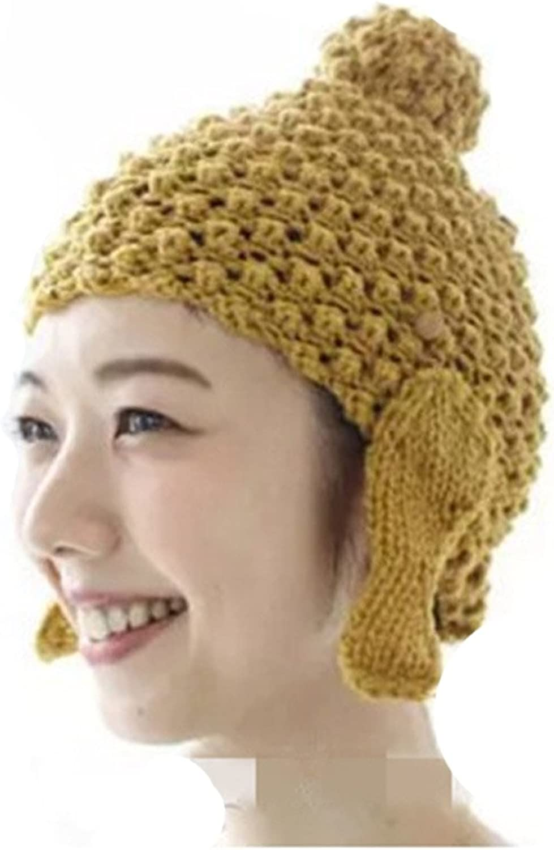 ALLDECOR Handmade Knitting Buddha Head Beanie Hat Women Winter Warm Cap