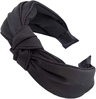 Headbands for Women - 1Pcs Hair Hoops with Cross Knot Hairbands with Cloth Wrapped Headwear Styling Tools Accessories for Washing Face Spa Mask Shower,Black