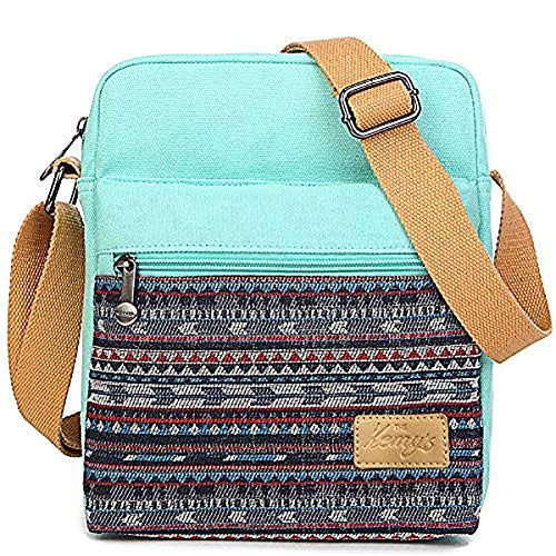 Image of the Girls Crossbody Purse Small Canvas Organizer Striped Messenger Bag Shoulder Bag for Traveling (Teal)