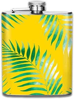 FGRYGF Frasco de Acero Inoxidable Bright Tropical Green Watercolor Palm Tree Printed Stainless Steel Hip Flask For Drinking Liquor E.g. Whiskey, Rum, Scotch, Vodka Rust Great Gift