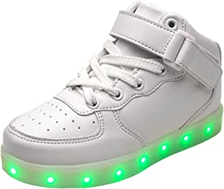 E Support Kid's High Top USB Charging Flashing Sneakers Night LED Light Up Sports Dancing Shoes