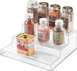 iDesign rangement cuisine, petite étagère de rangement à 3 niveaux en plastique, étagère à épices pratique pour épices et ...