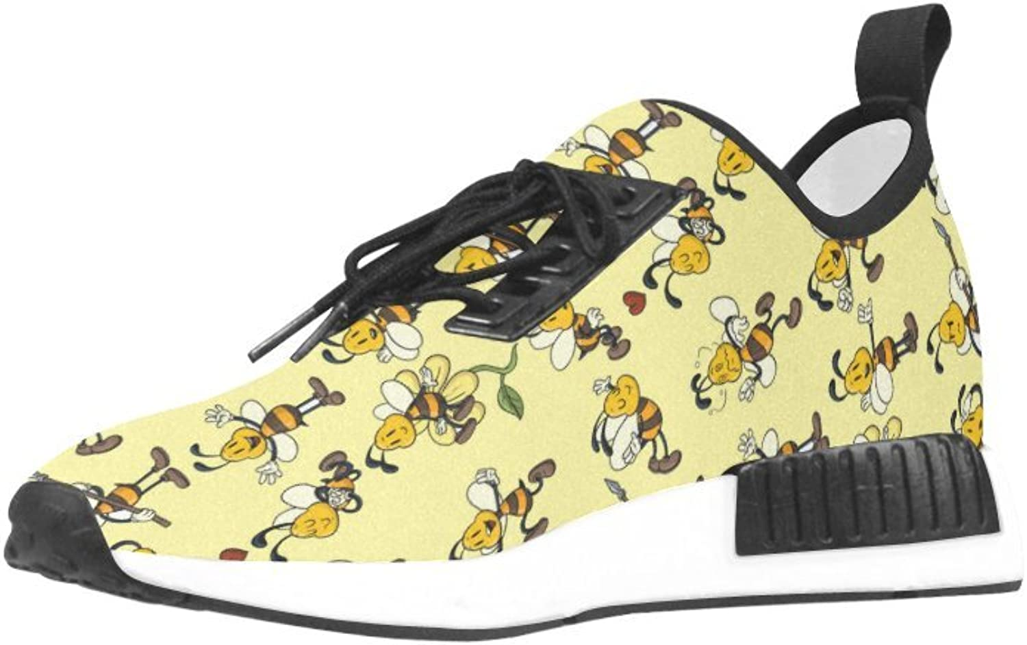 CERLYRUAN Honeybee Beehive Pattern Mesh Cloth Breathable Woven Leather Insole Running shoes for Women