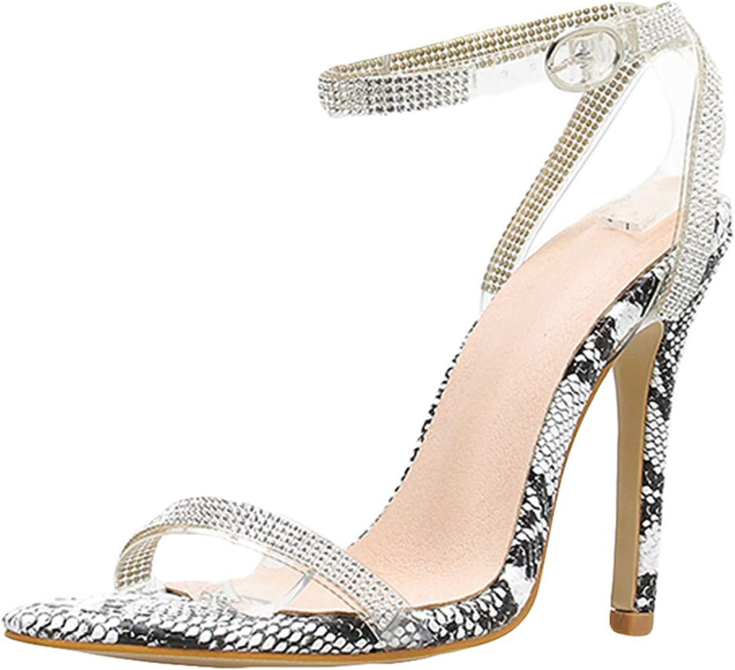 SUSENSTONE Women shoes High Heel Snake Sandals